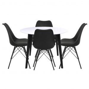 Bjørk Hvid/Sort Spisebordssæt